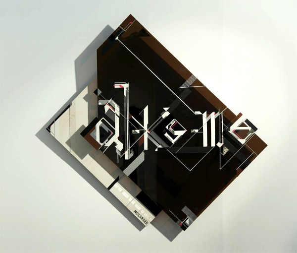NO CURVES interprets THE ALKEME COMPANY logo. A Tape, Wood + Plexiglass 3D Sculpture that create illusion with shadows (1)